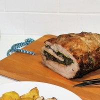 Rollo de lomo relleno de espinacas y champiñones al horno
